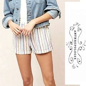 Anthro Drew High Waist Pinstripe Shorts w/ Pockets
